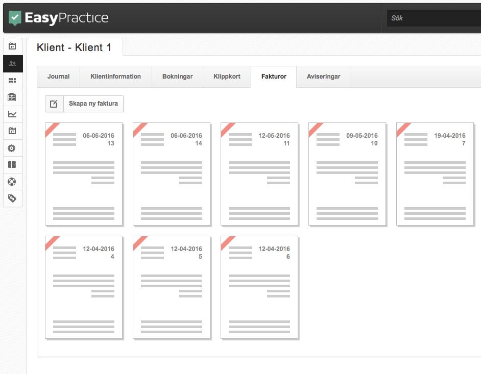 Skapa fakturor genom klientens profil