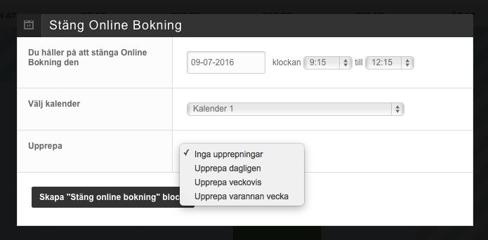 Blockera online bokning