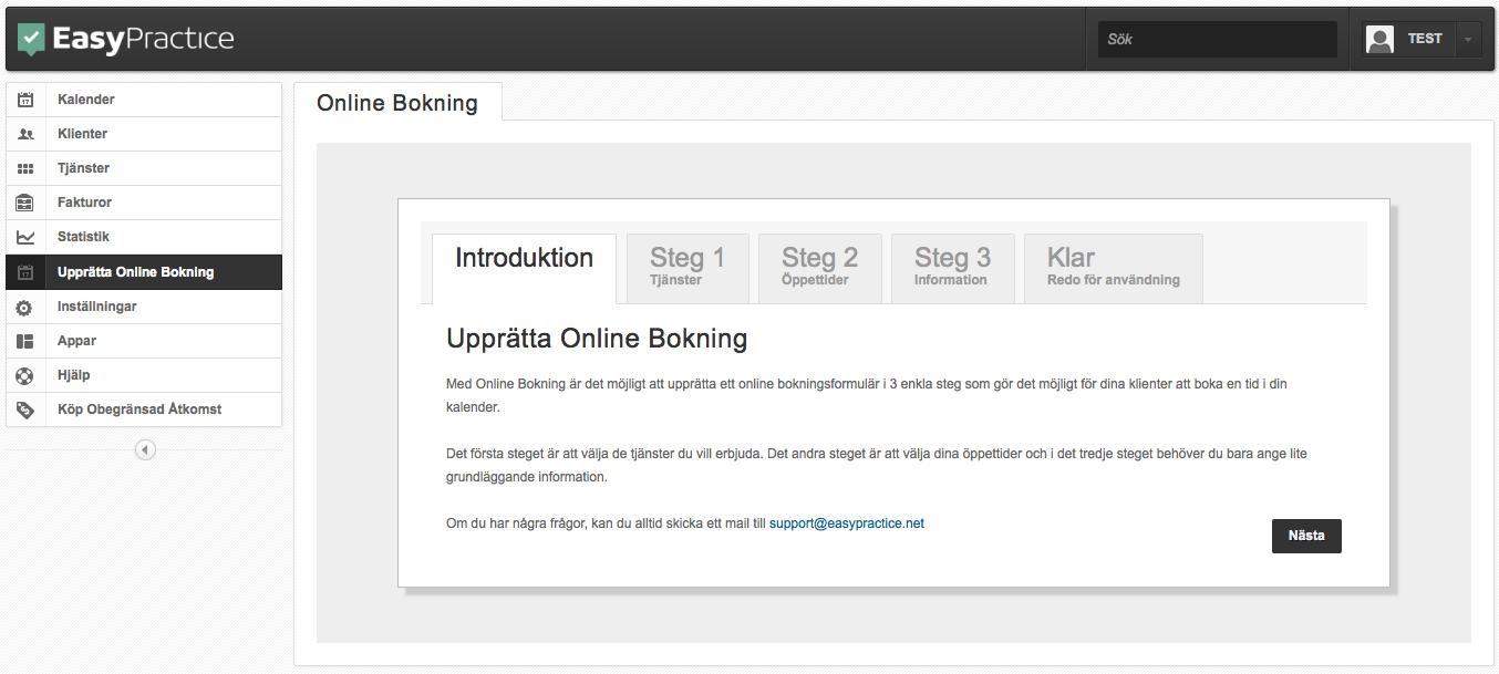 Installera online bokning