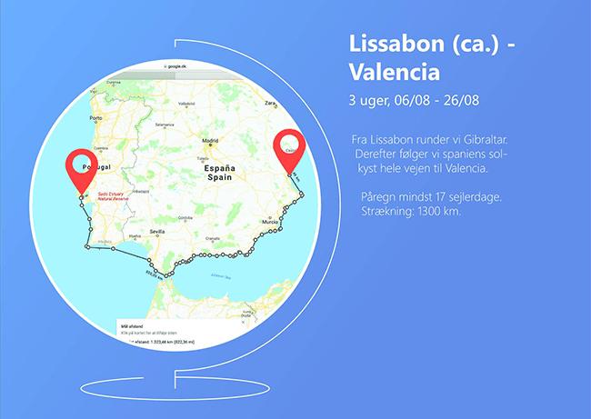 casper, route, lissabon to Valencia, remote